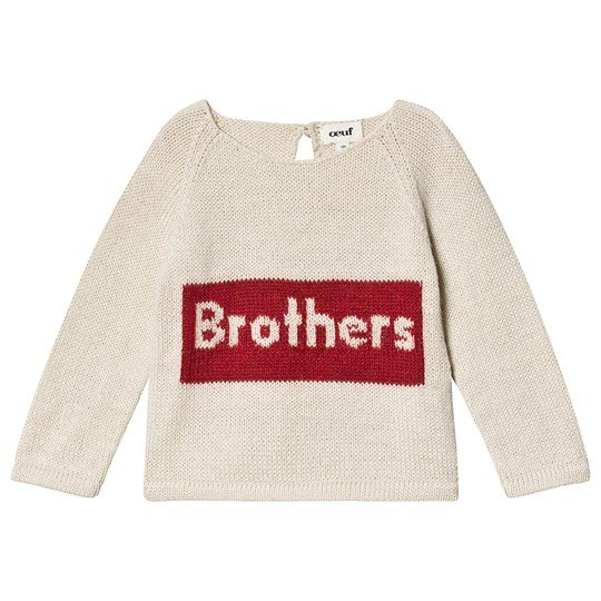 Oeuf Brothers Sweater Hvid og Rød White/Red