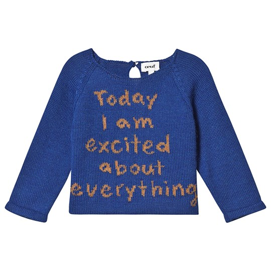 Oeuf Excited Sweater Electric Blue and Ochre Electric Blue/Ochre