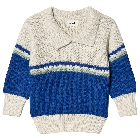 Oeuf Ski Sweater Electric White og Electric Blue White/Electric Blue