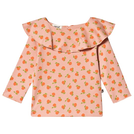 Oeuf Ruffle Long Sleeve Tee Pink Pink/Clementines