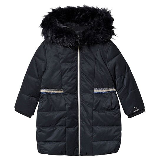 Catimini Puffer Jacket with Faux Fur Trim Navy 49