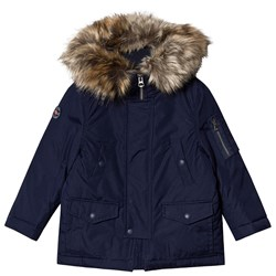 Ralph Lauren Military Parka with Faux Fur Hood Navy