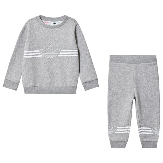 adidas Originals Grey Outline Logo Sweatshirt and Bottom Infants Set Top:medium grey heather/white Bottom:MEDIUM GREY H