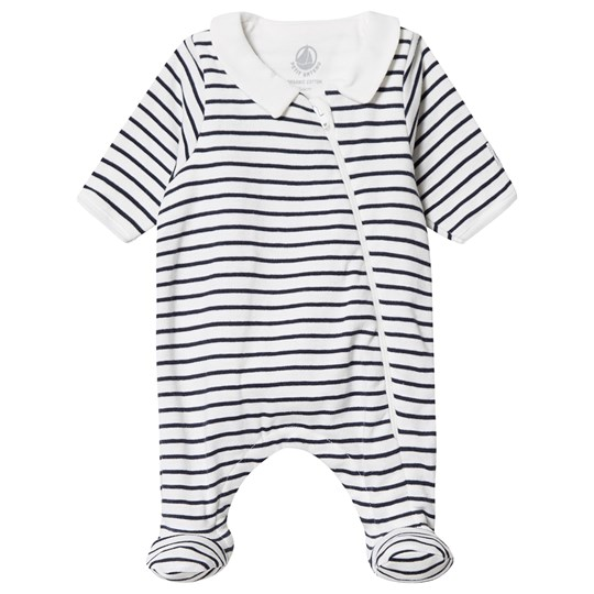 Petit Bateau Footed Baby Body White/Navy Stripe MARSHMALLOW/SMOKING
