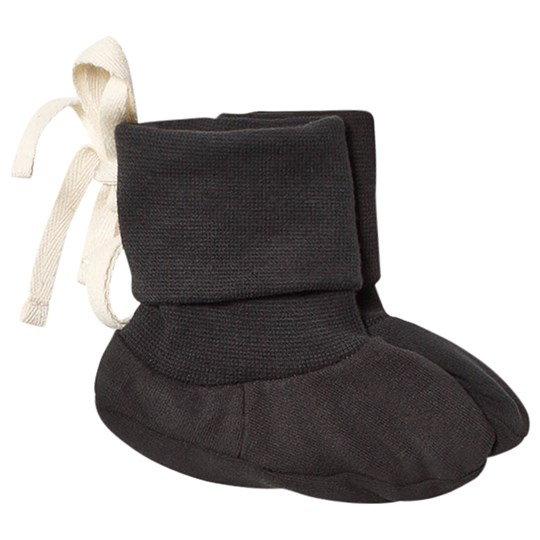 Gray Label Baby Ribbed Booties Nearly Black Nearly Black