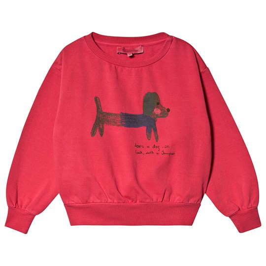 Weekend House Kids Green Dog Sweater Red Red