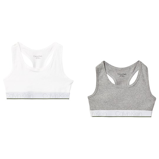 Calvin Klein 2 Pack of Bralettes Grey and White 0IX