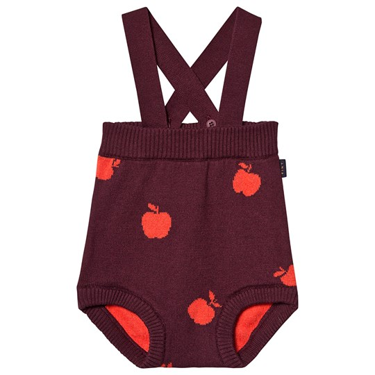 Tinycottons Apples Overalls Aubergine and Red Aubergine/Red