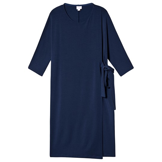Boob Wonton Dress Navy Marinblå