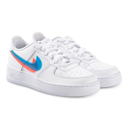 NIKE Air Force 1 Sneakers White, Blue Hero and Bright Crimson 100