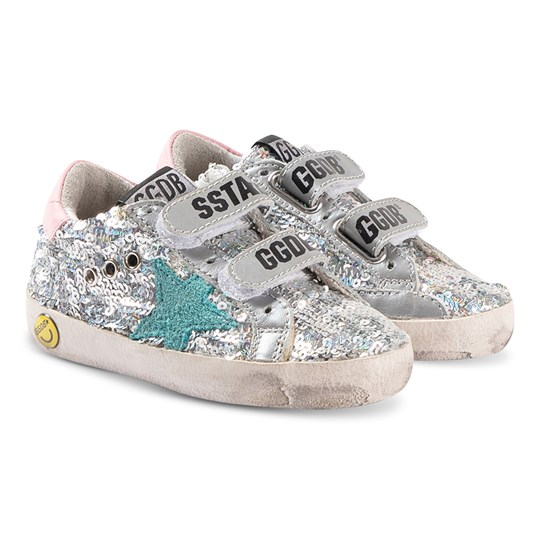Golden Goose Old School Sneakers Silver SILVER PAILLETTES-GREEN STAR