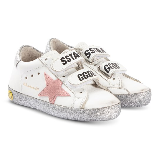 Golden Goose Old School Sneakers White and Silver WHITE LEATHER-SILVER GLITTER SOLE
