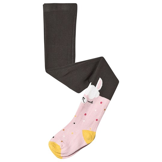 Catimini Llama Tights Pink and Grey 57