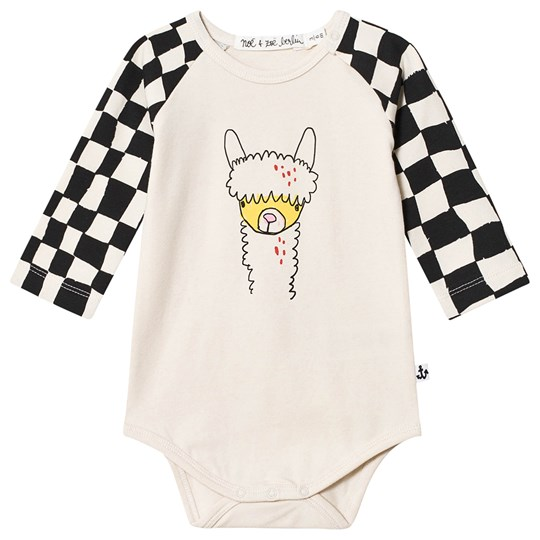 Noe & Zoe Berlin Llama Printed Baby Body Cream/Black Black Checker