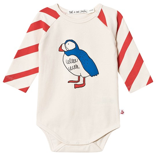 Noe & Zoe Berlin Stripe & Puffin Print Baby Body Red Red Diagonal