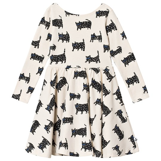 Noe & Zoe Berlin Cat Print Ballerina Dress Cream BLACK CAT