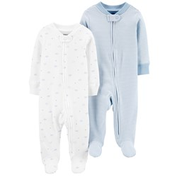 Carter's 2-Pack Zip-Up Cotton Footed Baby Bodies Ivory/Blue