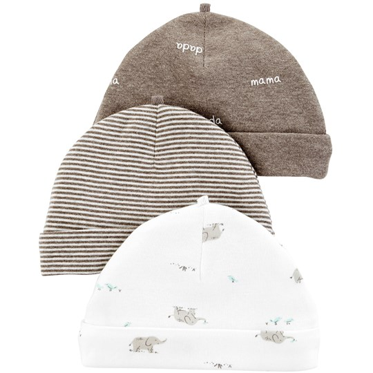 Carter's 3-Pack Caps Heather/Ivory PRINT (969)