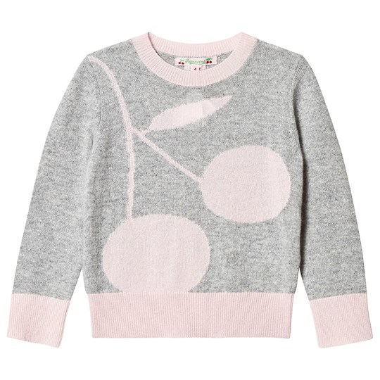 Bonpoint Large Cherry Cashmere Sweater Grey/Pink 192