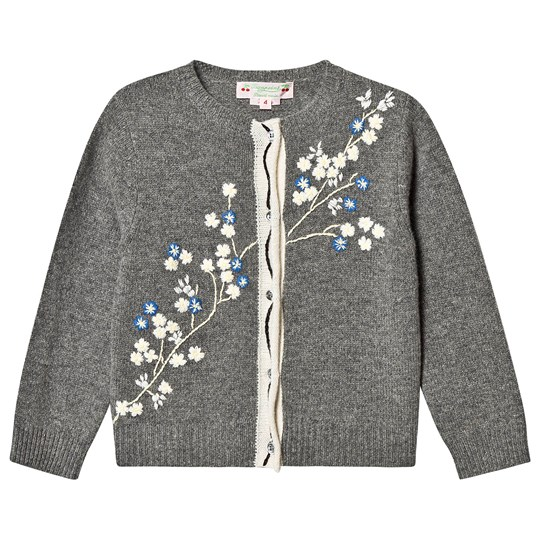 Bonpoint Floral Embroidered Knit Cardigan Grey 194