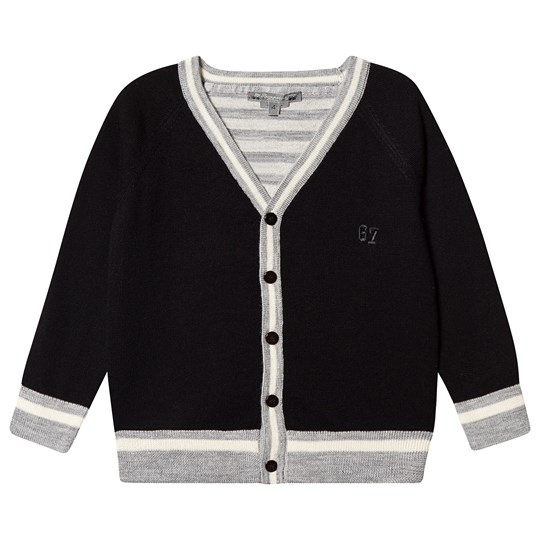 Bonpoint Stripe Cardigan Navy/Grey 199