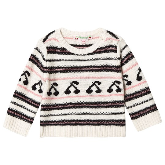 Bonpoint Knit Jumper Cream Stripe and Cherry 903A