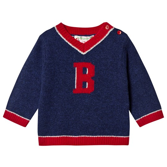 Bonpoint B Logo Knit Jumper Navy/Red 174