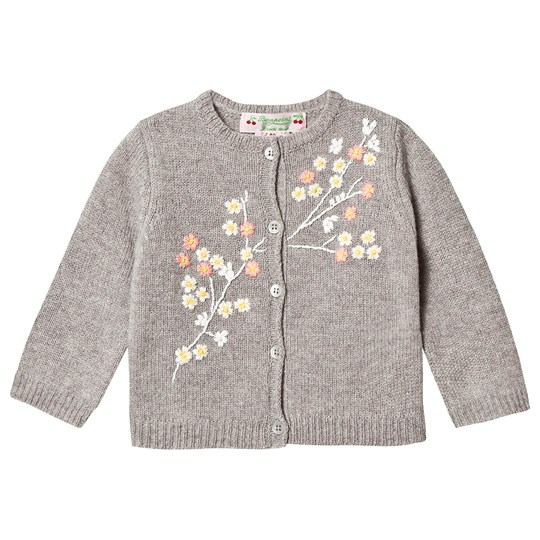 Bonpoint Floral Embroidered Knit Cardigan Grey 192