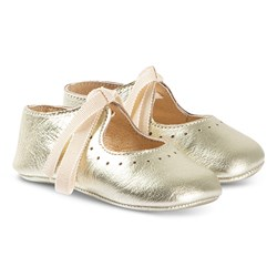 Bonpoint Crib Shoe with Ribbon Lace Gold