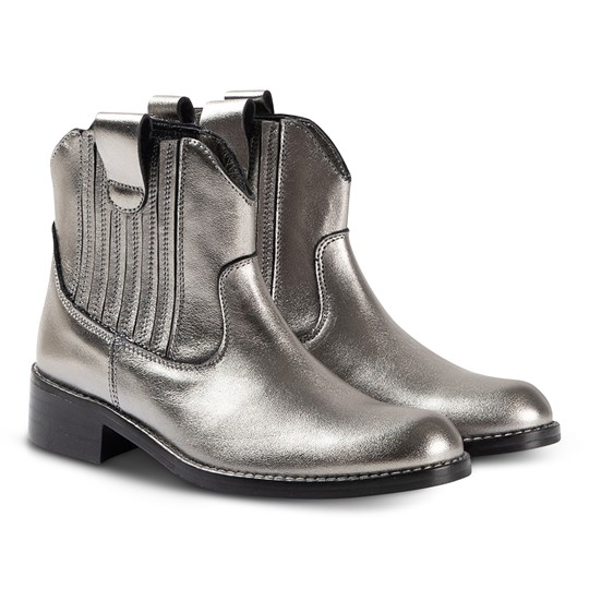 Bonpoint Leather Cowboy Ankle Boots Pewter 032