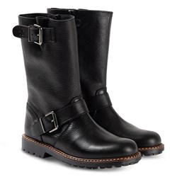 Bonpoint Double Buckle Leather Biker Boots Svart
