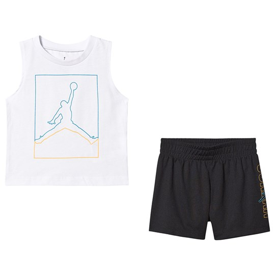 Air Jordan Jumpman Tank Top and Short Set White/Black 023