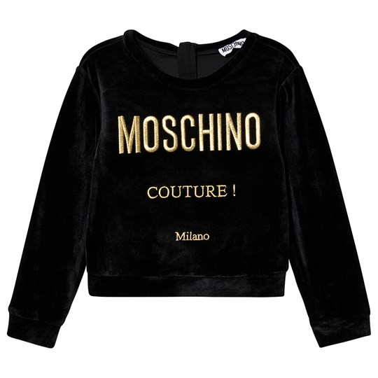 Moschino Kid-Teen Velour Couture Tröja Svart 60100