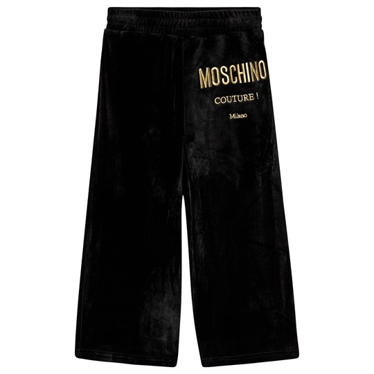 Moschino Kid-Teen Velour Culotte Pants Black and Gold 60100