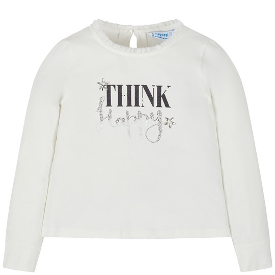 Mayoral Think Happy Long Sleeve Tee White 72