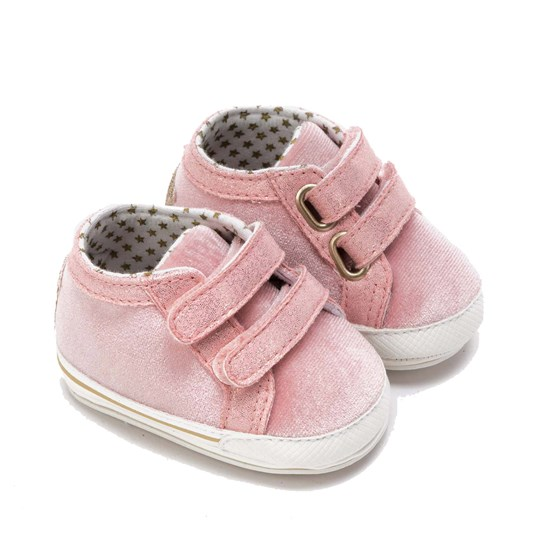 Mayoral Glitter Velcro Crib Shoes with Star on Back Pink 39