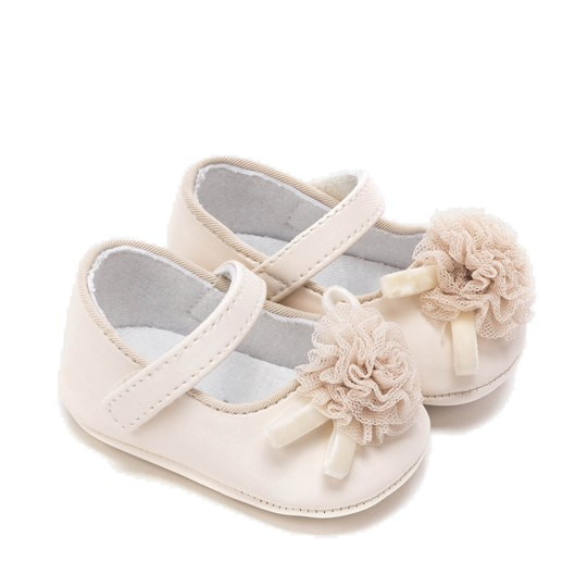 Mayoral Floral Detail Velcro Crib Shoes Cream 10