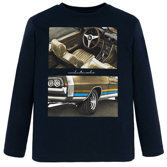 Mayoral Car Graphic Long Sleeve Tee Navy 18