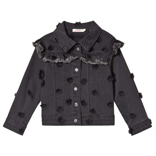 Billieblush Dark Grey Denim Jacket with Spot Embroidery Z40