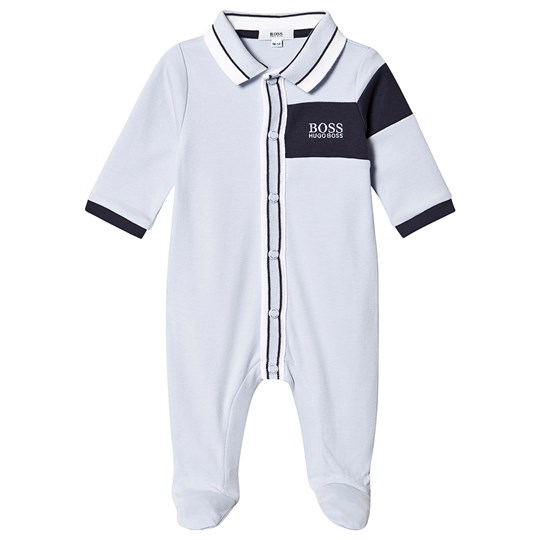 BOSS Branded Polo Footed Baby Body Pale Blue 771