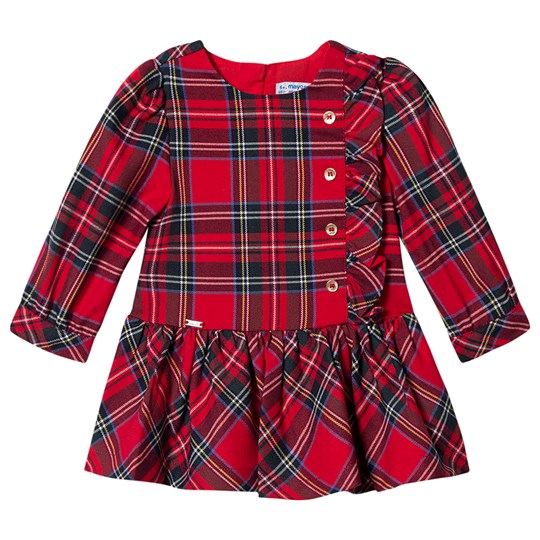 Mayoral Check Button Dress Red/Navy 17
