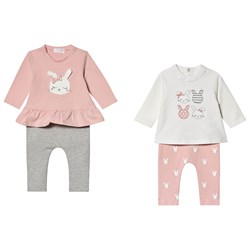 Mayoral Bunny Top and Leggings 4 Piece Set Pink and Cream
