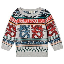 Kenzo Multi Dragon Knit Sweater Grey