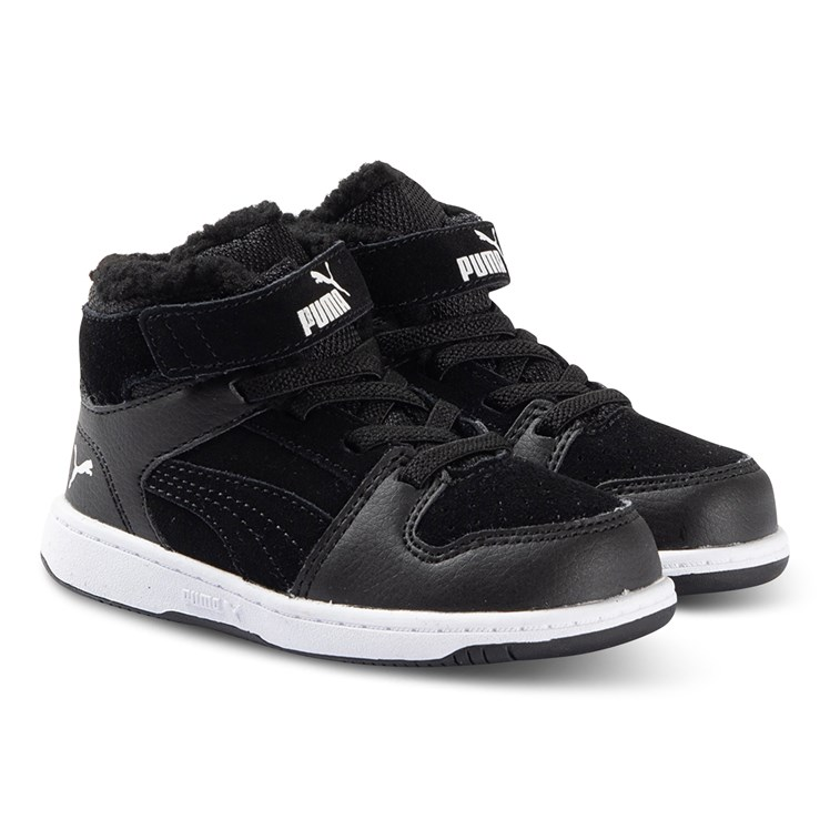 Puma Rebound Layup Fur Infant Sneakers Black and White