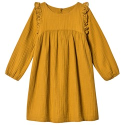 Bonton Gathered Dress Mustard