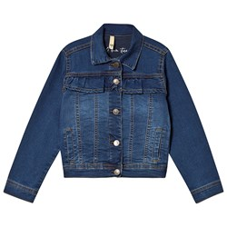 A Denim Story Frill Denim Jacket Blue