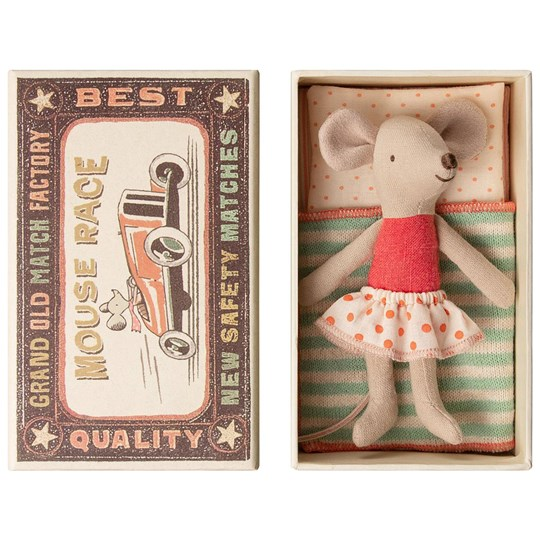 Maileg Little Sister Mouse in Box Red