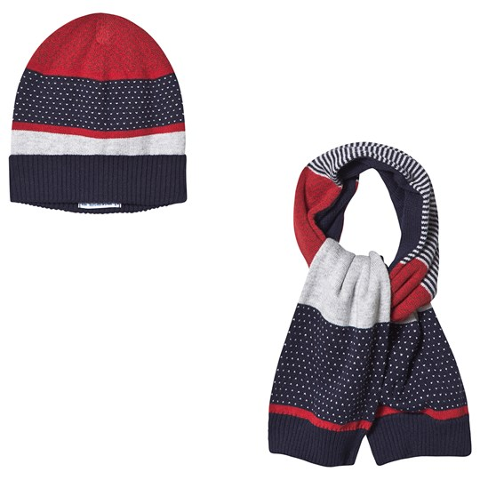 Mayoral Knit Beanie and Scarf Set Navy/Red/Grey 30