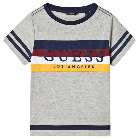 Guess Multi Stripe Branded Tee Grey LHY
