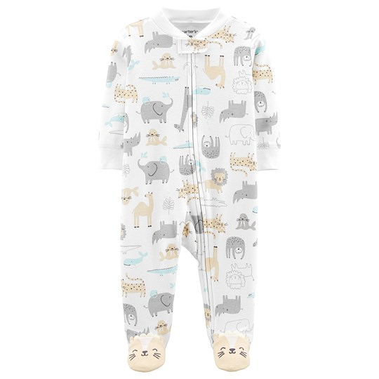 Carter's Animal Zip-Up Cotton Sparkdräkt Ivory PRINT (969)